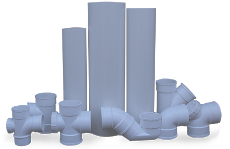 Un-Plasticized polyvinyl chloride (U-PVC) Sewerage Series Pipes & Fittings discharge within the building structure.