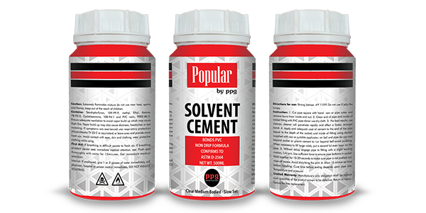 Solvent Cement PPG Products Popular Pipes Group Of Companies - Mark of the leader